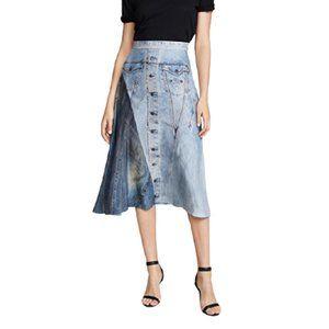 NWT Colovos Silk Denim Print Skirt in Blue Fade